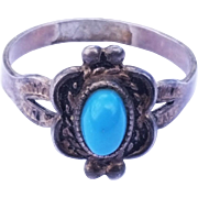 SALE Stunning Sterling Silver Turquoise ESPO Ring Size 6 1/2