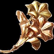 SALE Large 1/20 10k Gold Flower Pin / Brooch