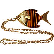 SALE Sarah Coventry Fish Pendant / Necklace Faux Tortoise Shell
