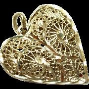 SALE Sterling Silver Filigree Heart Pendant 925