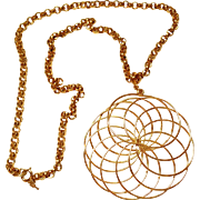 SALE Vintage Trifari Geometrical Spiral Pendant Necklace.