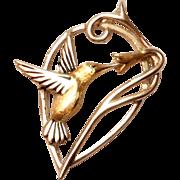 SALE Vintage Sterling Silver Hummingbird Pendant