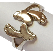REDUCED Vintage Sterling Silver Footprints Ring  (size 7 3/4- 8)  925