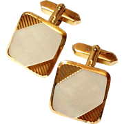 SALE Vintage Gold Tone Mother of Pearl Cufflinks ADA cuff links