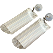 SALE Wonderful Big Retro Clear Acrylic Rectangular  Drop Earrings