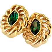 Vintage Swarovski Green Crystal Gold Tone Clip Style Earrings