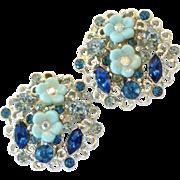 Vintage Blue Flower Rhinestone BSK Earrings Clip Style