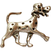 SALE Cute Spotted Dog Sterling Silver Pin / Brooch Dalmatian 925