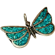SALE Vintage Sterling Silver Turquoise Chip Inlay Butterfly Pendant