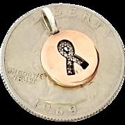 SALE 10K Rose Gold Diamond and Sterling Silver .925 Necklace Susan Komen Cancer Pendant