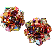 Pretty Vintage Rainbow Glass Cluster Earrings with Clear Crystal Rondelles Clip Style