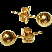 SOLD 14k gold Orb / Ball earrings Post Style