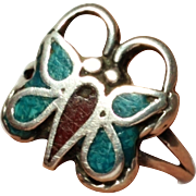 Small Sterling Silver Turquoise Inlay Butterfly Ring  Size 4 3/4