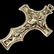 SALE Pretty Vintage Sterling Silver Crucifix / Cross Pendant  Filigree Design 925