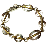 "SALE Vintage Sterling Silver Brass Link Bracelet 925   8 1/2"" long"