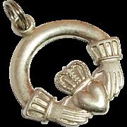 SALE Vintage Sterling Silver Irish Claddagh Pendant