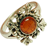 SALE Vintage Sterling Silver and Amber cabochon Ring  Size 5 1/2