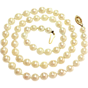 SALE Vintage 14k Gold Closure Cultured Baroque Pearl Necklace