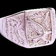 SALE Sterling silver ornate Eagle biker ring Size 10 1/2