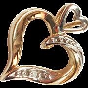 SALE 10k Gold Diamond Heart Pendant