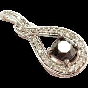 SALE 10K White Gold Diamonique Pendant with Black Sapphire Center Stone