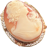SALE Big Beautiful Carved Shell Cameo Sterling Silver Pin / Brooch Setting Lady Profile