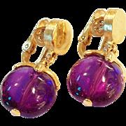 SALE TRIFARI Waterfall Earrings Vintage 1960s Purple Bead | Book Piece Gold tone metal