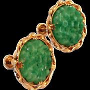 SALE Vintage Faux Carved Jade Flower Earrings Gold Filled Screw Back Style