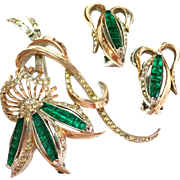 SALE Vintage Reja flower Pin and Earring Set - Green silver Tone