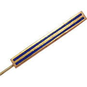 Vintage Gold Tone and Blue Striped Stick Pin