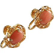 SALE Vintage Salmon Coral 1/20 12k Gold Filled Screwback Earrings