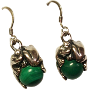 SALE Vintage Sterling Silver Frog with Malachite Orb earrings