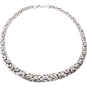"Stunning 16"" Sterling Silver Graduated Flat Byzantine Chain Necklace 22.9g"