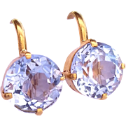 Antique 5.5 Carats Aquamarine and 18kt Yellow Gold Screwback Earrings