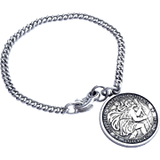 "Beautiful Saint Christopher Bracelet Medal 5 3/4"" long"