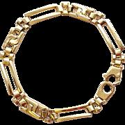 "14k Solid Gold Men's Railroad link chain/Bracelet 8 1/2"" 7 mm 12.7 grams Turkey"
