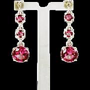 SOLD Genuine Diamond Lab Grown Pink Sapphire Three Drop Dangle Earrings