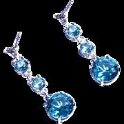 SALE Genuine Diamond Lab Grown Blue Spinel Three Drop Dangle Earrings
