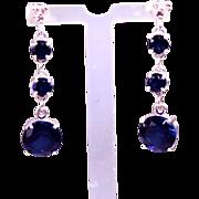 SALE Genuine Diamond Lab Grown Blue Sapphire Three Drop Dangle Earrings
