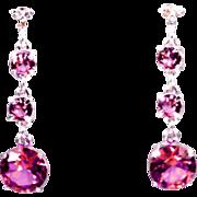 SALE Genuine Diamond Lab Grown Pink Tourmaline Three Drop Dangle Earrings