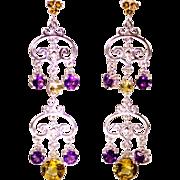 SALE Genuine Amethyst Citrine Gemstone Dangle Drop Earrings