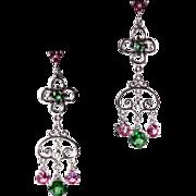 SOLD Genuine Green Topaz Lab Grown Pink Sapphire Dangle Drop Earrings