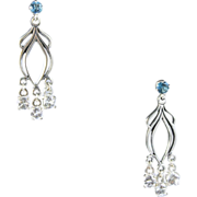 SOLD Art Nouveau Style London Blue Topaz White Beryl Dangling Chandelier Earrings