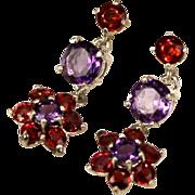 SALE Genuine Sapphire Amethyst Gemstone Dangle Drop Earrings