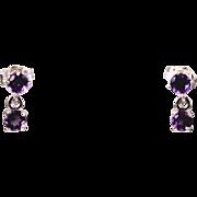 Artisan Deep Purple Amethyst Drop Gemstone Earrings