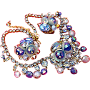 SALE Vintage Signed Hobe Blue Flower Molded Glass Necklace Earring Set