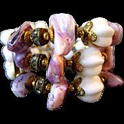 SALE Vintage Miriam Haskell Amethyst Milk Glass Bead Wrap Bracelet
