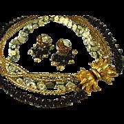 SALE Vintage Multi Strand Porcelain Flower Necklace Earring Set Signed