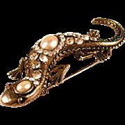 SALE Sterling Silver Salamander Rhinestone Brooch