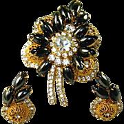 SALE Vintage Juliana D&E Hematite Gold Filigree Brooch Earring Set
